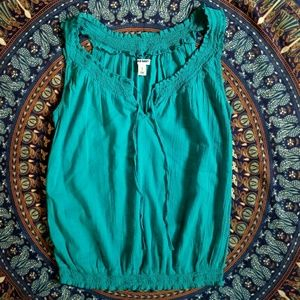 Teal Old Navy Sleeveless Peasant Top